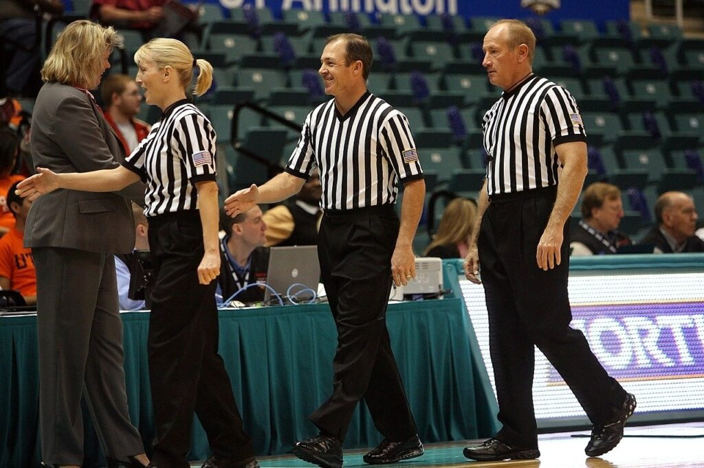 basketball officials, referees, game