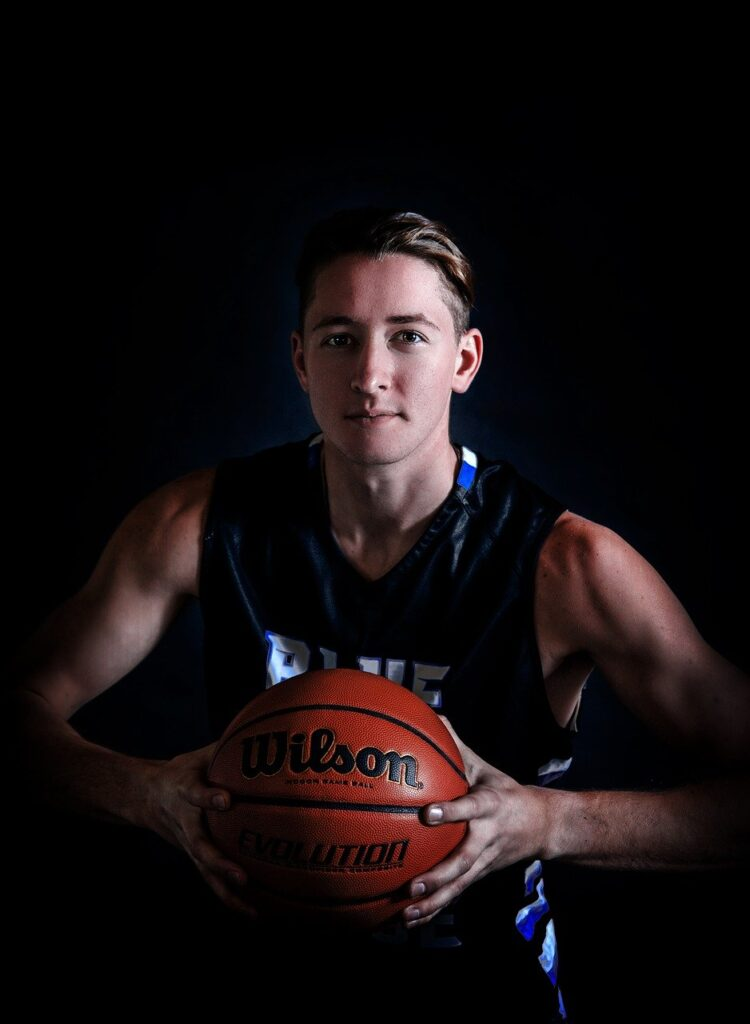 senior, basketball, portrait